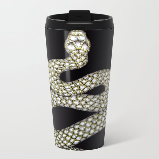 Snake's Charm in Black Metal Travel Mug