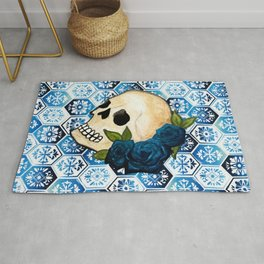 Watercolor Skull and Roses Tile Background Rug