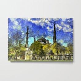 Blue Mosque Istanbul Van Gogh Metal Print