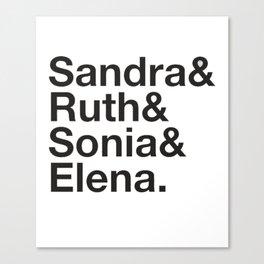 RBG Shirt - Sandra Ruth Sonia Elena Canvas Print