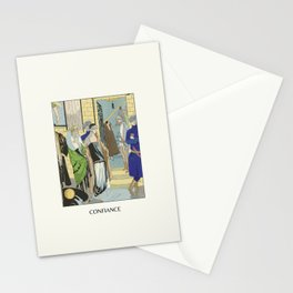 Confiance | Urban street scene | Historical Art Deco Vintage Fashion Print | Friends and nightlife Stationery Cards
