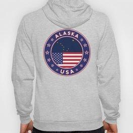 Alaska, Alaska t-shirt, Alaska sticker, circle, Alaska flag, white bg Hoody