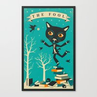 tarot Canvas Prints featuring TAROT CARD CAT: THE FOOL by Jazzberry Blue