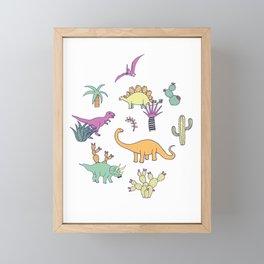Dinosaur Desert Framed Mini Art Print