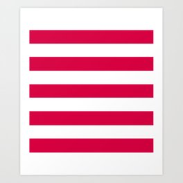 Rich carmine - solid color - white stripes pattern Art Print