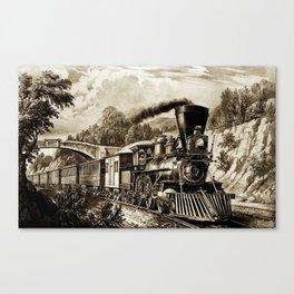 Vintage steam train illustration Canvas Print
