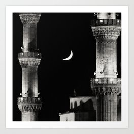 The Moon and the Blue Mosque Art Print