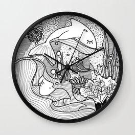 Underwater imaginary world - Sirens Wall Clock