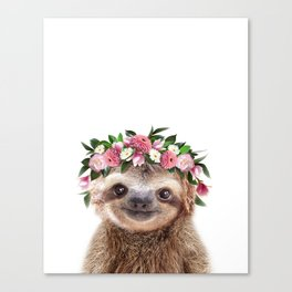 Baby Sloth With Flower Crown, Baby Animals Art Print By Synplus Canvas Print