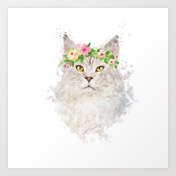 Boho cat portrait with flower crown Art Print