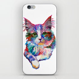 Cat with green eyes iPhone Skin