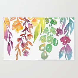 "Colorful ombre watercolor bouquet, ""Lindsay"" Rug"