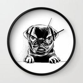 Black Pug Pup Wall Clock