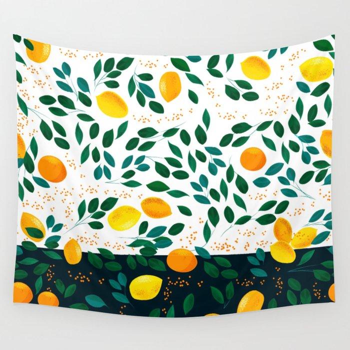 Lemon Orange Wall Tapestry