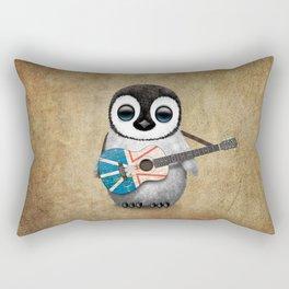 Baby Penguin Playing Newfoundland Flag Acoustic Guitar Rectangular Pillow