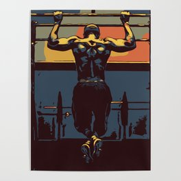 Pull ups in the gym Poster