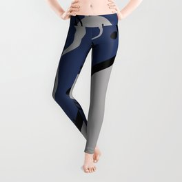 Music Notes Triangles pattern Graphic blue Leggings