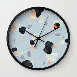 Abstract Brushstroke Terrazzo Pattern 08 Wall Clock