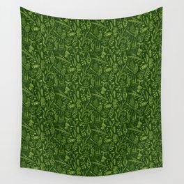 Woodland walk - dark acid green Wall Tapestry