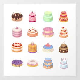 Birthday Cakes Art Print
