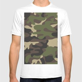 Texture military camouflage repeats seamless army green hunting T-shirt