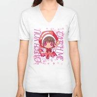 chibi V-neck T-shirts featuring Chibi Sakura by Neo Crystal Tokyo