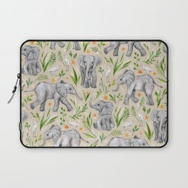 Baby Elephants and Egrets in Watercolor - neutral cream Laptop Sleeve