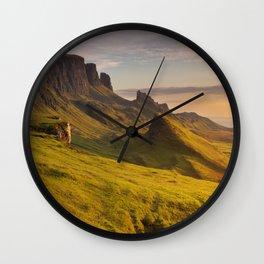 III - Sunrise at Quiraing, Isle of Skye, Scotland Wall Clock