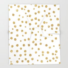 Gold glitter confetti on white - Metal gold dots Throw Blanket