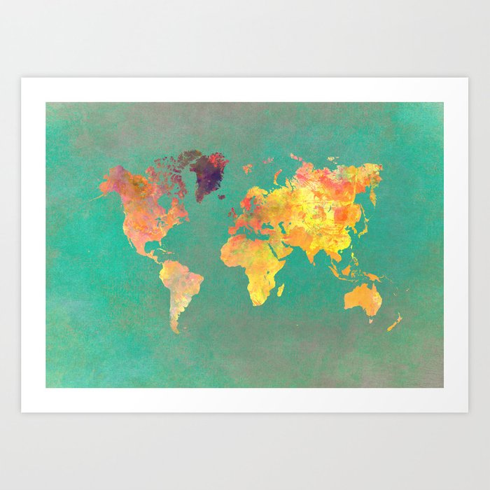 world map 103 worldmap map art print