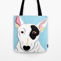 bull terrier Tote Bags featuring Bull Terrier by EloiseArt