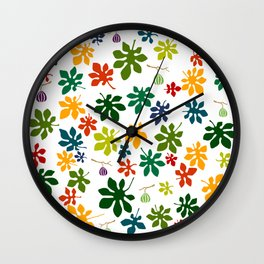 Colorful Fig Tree Leaves Wall Clock