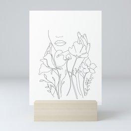Minimal Line Art Summer Bouquet Mini Art Print