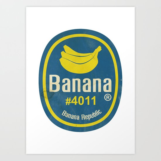Banana Sticker On White Art Print