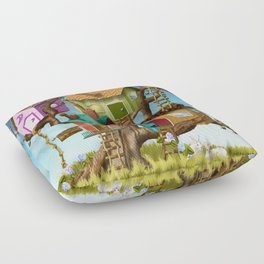 Home Sweet Tiny Tree Houses Floor Pillow