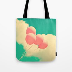 Happy Pink Balloons on retro blue sky  Tote Bag