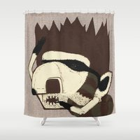 racoon Shower Curtains featuring Raino Racoon by René Barth