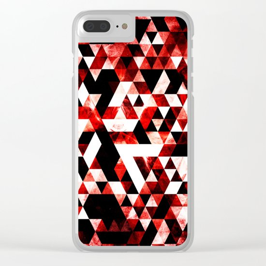Triangle Geometric Vibrant Red Smoky Galaxy Clear iPhone Case