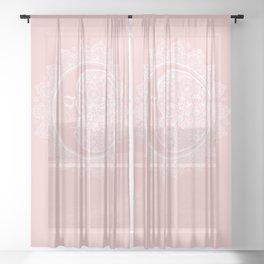 Mandala Moon Pink Sheer Curtain