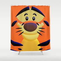cartoons Shower Curtains featuring Cute Orange Cartoons Tiger Apple iPhone 4 4s 5 5s 5c, ipod, ipad, pillow case and tshirt by Three Second