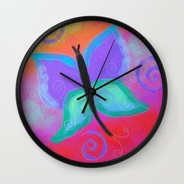 Funky Butterfly Abstract Digital Painting Wall Clock