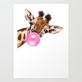 Bubble Gum Sneaky Giraffee Art Print