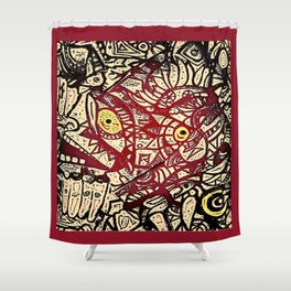 Shyly peeking from my heart, protective layers blown apart Shower Curtain