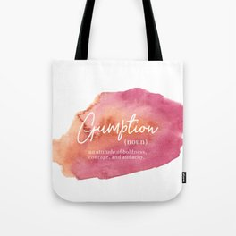 Gumption Definition - Word Nerd - Pink Watercolor Tote Bag