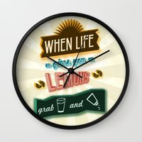tequila Wall Clocks featuring TYPOGRAPHY TEQUILA by magdam