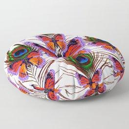 LILAC  FANTASY BUTTERFLIES GREEN PEACOCK EYES Floor Pillow