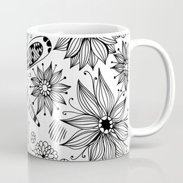 Dragonfly and flowers doodle Coffee Mug