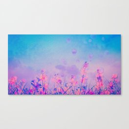 Spring Purple Dream (Neon Pink Wildflowers, Indigo Sky) Canvas Print