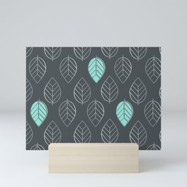 Mint & Silver Leaves Pattern & Slate Mini Art Print