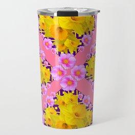 Coral Color Yellow Daffodils & Roses Pattern Art Travel Mug